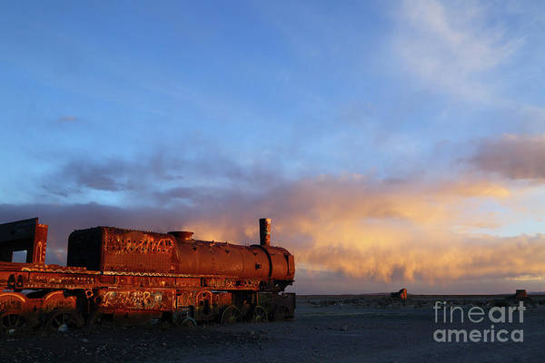 Photograph - Rusting Steam Train At Sunset Uyuni Bolivia by James Brunker