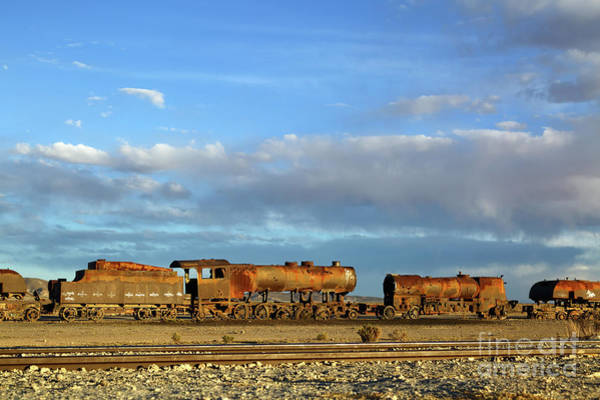 Photograph - Rusting Steam Trains And Big Skies Bolivia by James Brunker