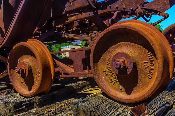 Wall Art - Photograph - Rusting Train Wheels by Garry Gay