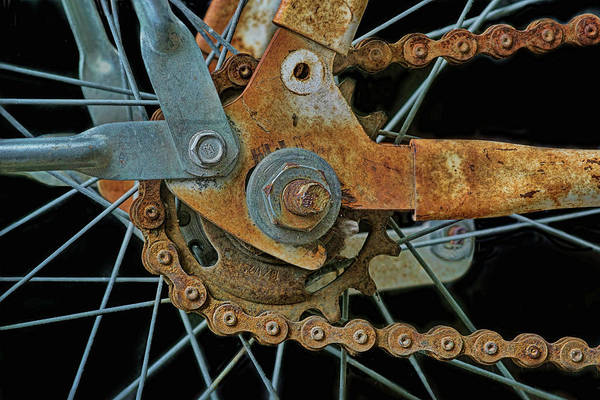 Rusty Chain Wall Art - Photograph - Rusty Bike Wheel And Chain by Nikolyn McDonald
