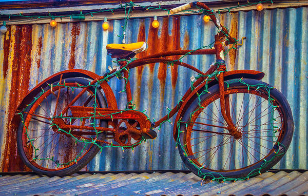 Wall Art - Photograph - Rusty Bike With Lights by Garry Gay
