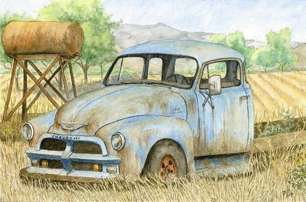Painting - Rusty Blue Chevy by David King