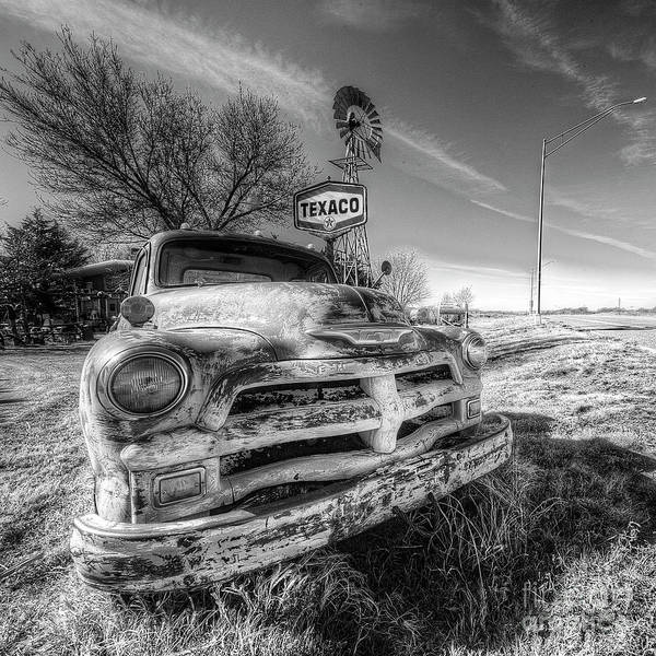 Wall Art - Photograph - Rusty Chevy Along Route 66 In Black And White by Twenty Two North Photography