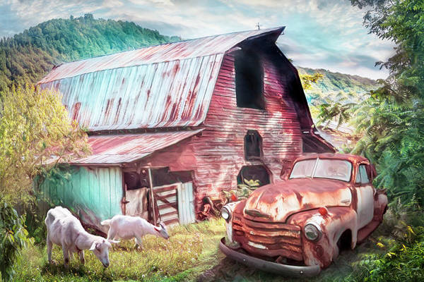 Wall Art - Photograph - Rusty Chevy At The Farm Summer Painting by Debra and Dave Vanderlaan