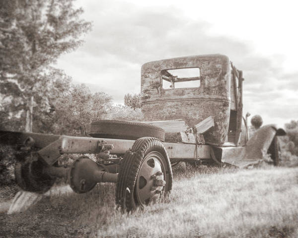 Photograph - Rusty Ford Truck Yard Art Sepia by David King