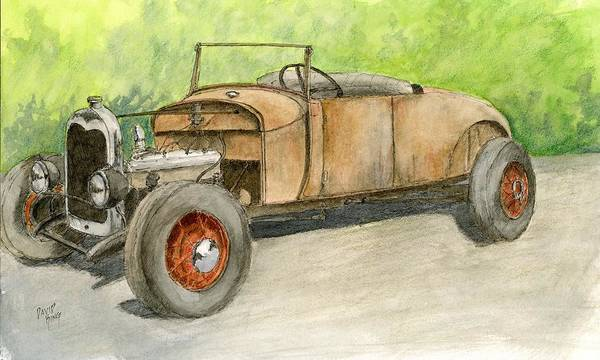 Painting - Rusty Hot Rod Roadster by David King