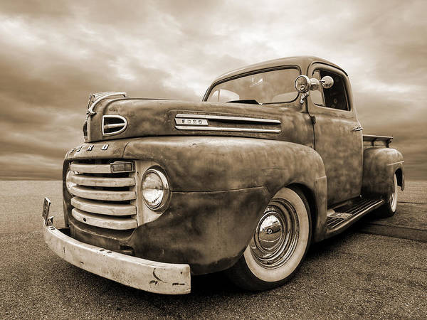 Photograph - Rusty Jewel In Sepia - 1948 Ford by Gill Billington