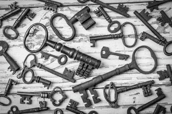 Wall Art - Photograph - Rusty Keys On Old Boards In Black And White by Garry Gay