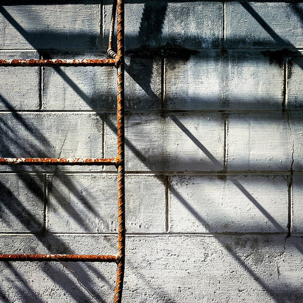 Industry Wall Art - Photograph - Rusty Ladder On Blue Industrial Art Square by Carol Leigh
