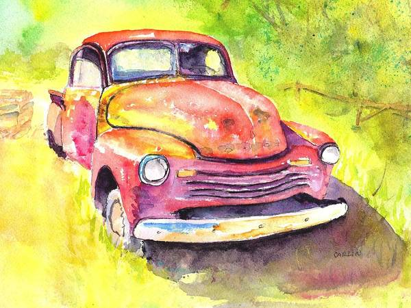 Painting - Rusty Old Red Truck by Carlin Blahnik CarlinArtWatercolor