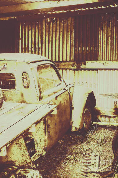 Damaged Photograph - Rusty Pickup Garage by Jorgo Photography - Wall Art Gallery