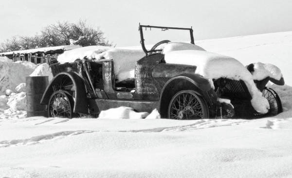 Photograph - Rusty Relic In Winter Bw by David King