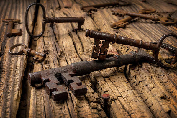 Skeleton Key Photograph - Rusty Skeleton Keys by Garry Gay