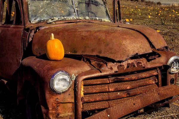 Wall Art - Photograph - Rusty Truck In Pumpkin Field by Garry Gay