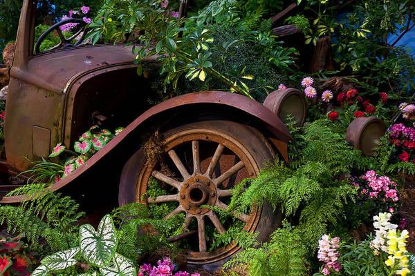 Car Wreck Wall Art - Photograph - Rusty Truck In The Garden by Garry Gay