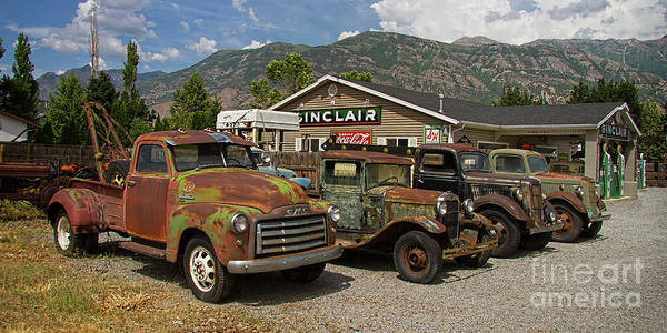 Wall Art - Photograph - Rusty Trucks At Sinclair Station by Nick Gray
