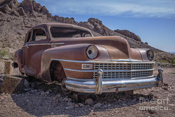 Wall Art - Photograph - Rusty Vintage Chevy Car In The Desert by Edward Fielding