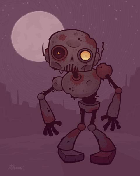 Robot Wall Art - Digital Art - Rusty Zombie Robot by John Schwegel