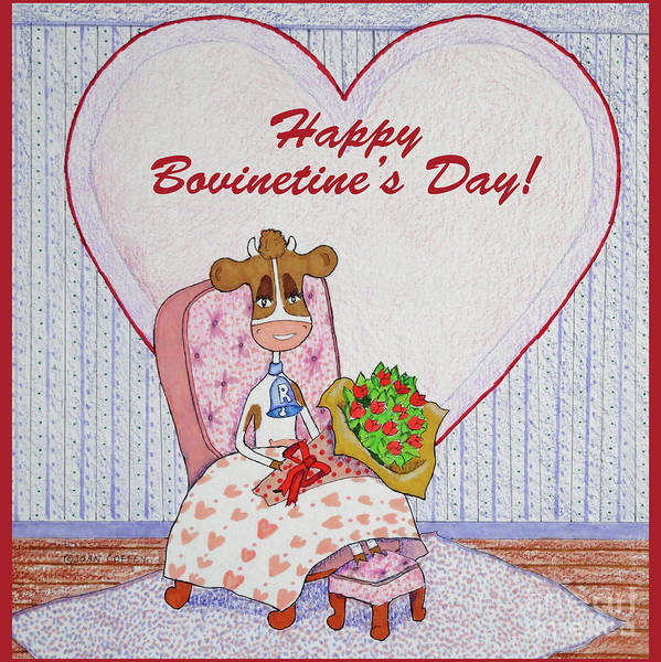 Drawing - Ruthie-moo Flowers Happy Bovinetine's Day by Joan Coffey