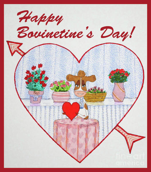 Drawing - Ruthie-moo Happy Bovinetinesday by Joan Coffey