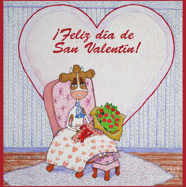Drawing - Ruthiemoo Flores Feliz Dia De San Valentin by Joan Coffey