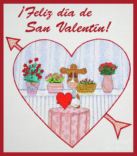 Drawing - Ruthiemoo Heart Flores Feliz Dia De San Valentin by Joan Coffey