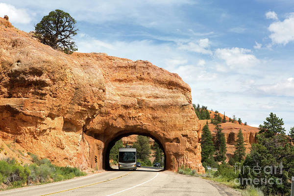 Photograph - Rv Red Canyon Tunnel Utah by Steven Frame