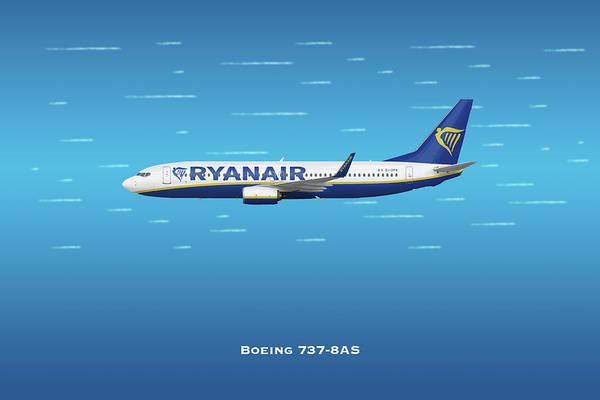 Wall Art - Digital Art - Ryan Air Boeing 737 by J Biggadike