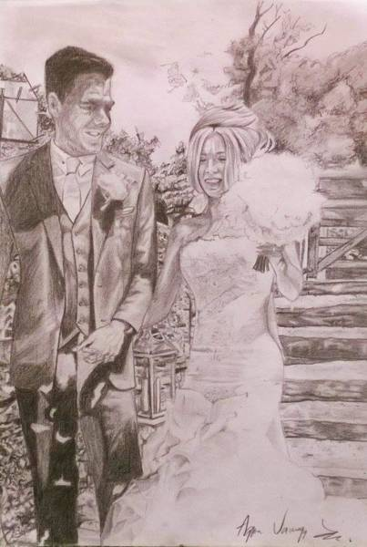 Wall Art - Drawing - Ryan And Jaime's Wedding by Agnes V