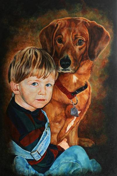 Painting - Ryan And Moses by Steven Ward