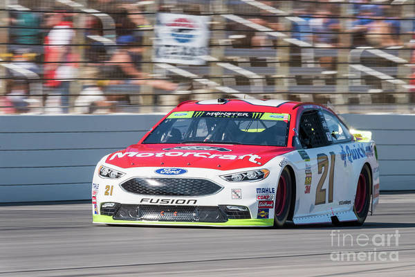 Photograph - Ryan Blaney Driving The Woods Brothers #21 At Texas Motor Speedway by Paul Quinn
