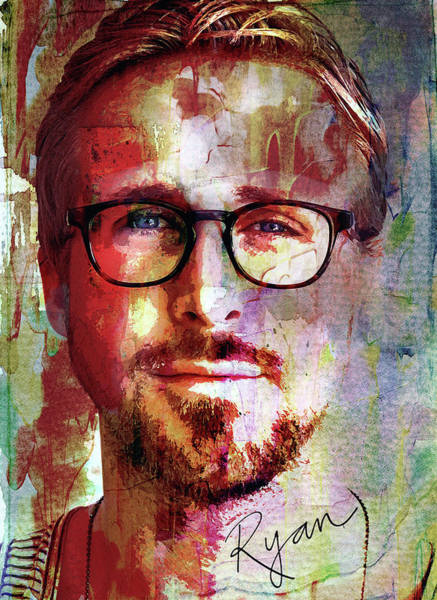 Goslings Mixed Media - Ryan Gosling by Mal Bray
