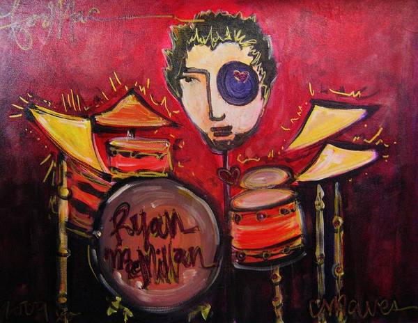 Painting - Ryan Macmillan And His Drums by Laurie Maves ART