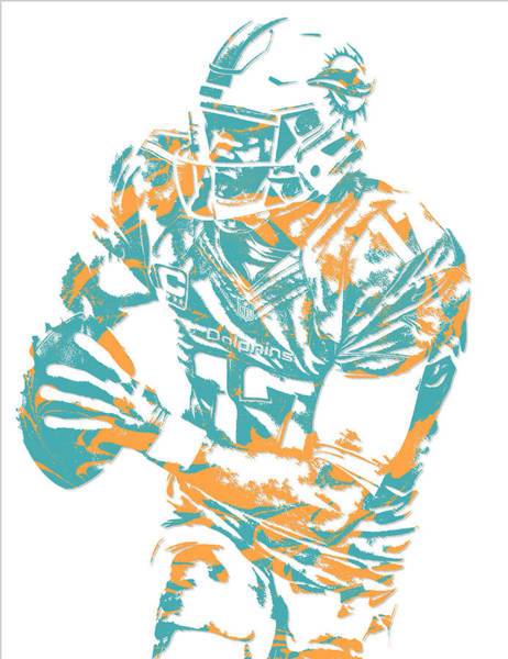 Wall Art - Mixed Media - Ryan Tannehill Miami Dolphins Pixel Art 2 by Joe Hamilton