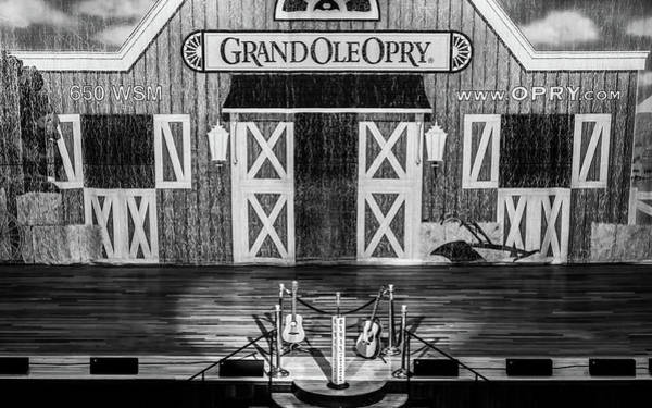 Photograph - Ryman Opry Stage - Bw by Glenn DiPaola