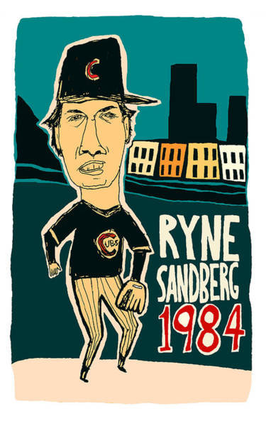 Baseball Hall Of Fame Mixed Media - Chicago Cubs - Ryne Sandberg - Wrigley Field by Jay Perkins