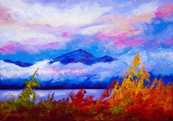 Mountain Lake Painting - Rythmn Of The Arctic by Marion Rose