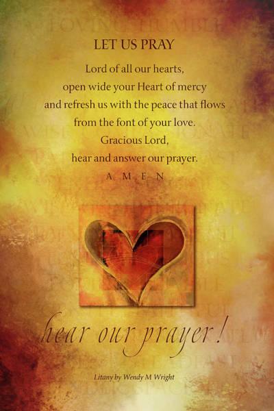 Sacred Heart Digital Art - S H Litany Closing Prayer 2 by Terry Davis