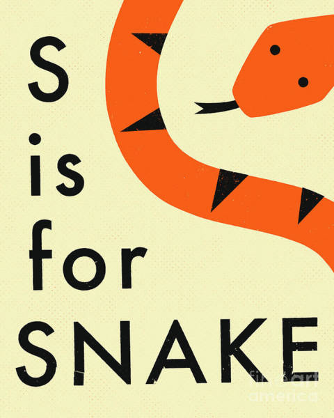 Reptiles Digital Art - S Is For Snake - 2 by Jazzberry Blue