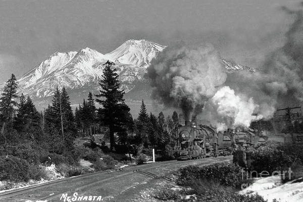 Photograph - S. P. Double Heading Mount Shasta, Siskiyou County, California C by California Views Archives Mr Pat Hathaway Archives