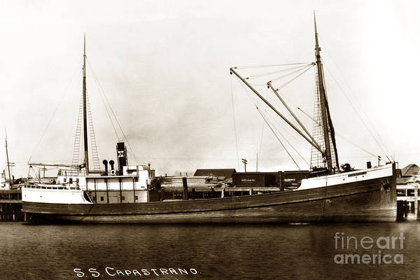Photograph - S. S. Capastrano Steam Ship San Pedro Circa 1908 by California Views Archives Mr Pat Hathaway Archives
