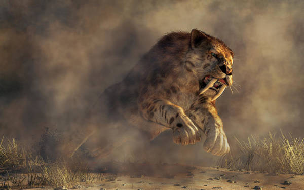 Digital Art - Sabre Tooth Pounce by Daniel Eskridge