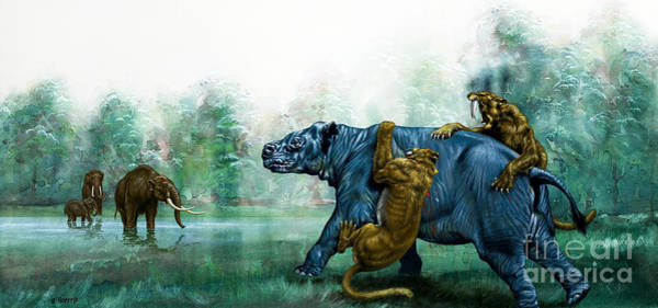 Evolution Painting - Sabre Toothed Tigers  Prehistoric Animals by David Nockels