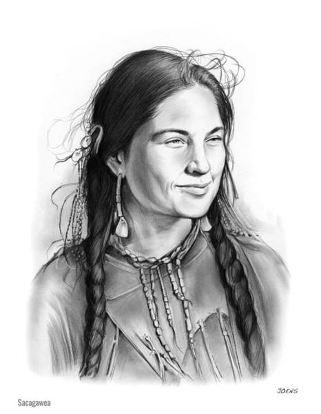 Mission Wall Art - Drawing - Sacagawea by Greg Joens