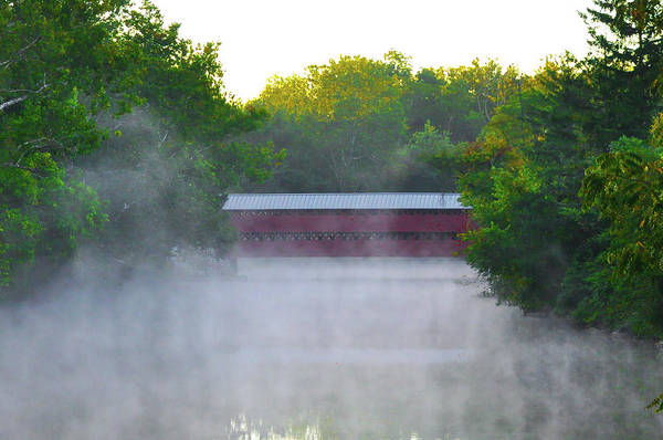Photograph - Sachs Covered Bridge In The Mist - Gettysburg Pa by Bill Cannon