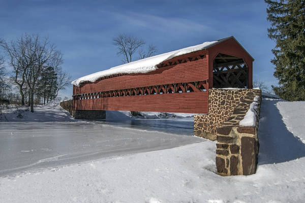 Wall Art - Photograph - Sachs Covered Bridge In The Winter. by Dave Sandt