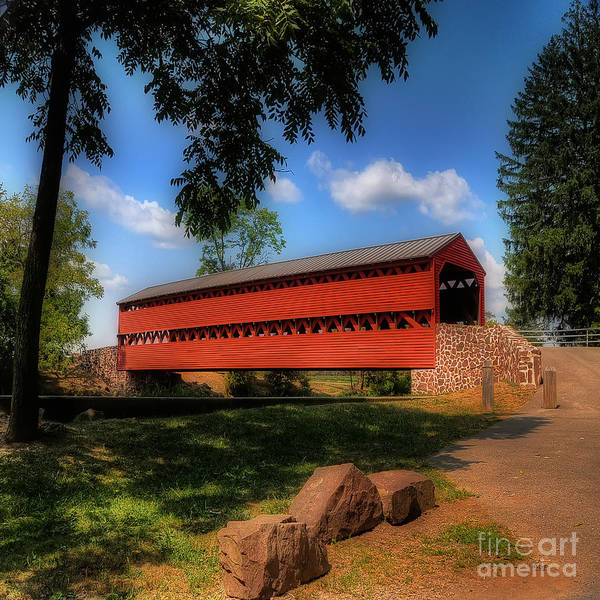 Red Covered Bridge Photograph - Sach's Covered Bridge by Lois Bryan