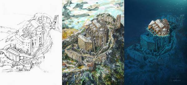 Ocean Scape Digital Art - Sacra Di San Michele Wip by Andrea Gatti