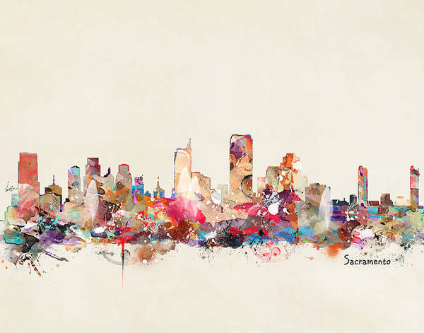 Sacramento Painting - Sacramento California Skyline by Bri Buckley