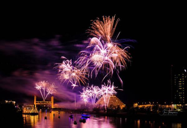 Photograph - Sacramento Fireworks Composite 1 by Jim Thompson